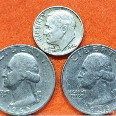 Monedas de España: LOTE USA - 1 DIME PLATA 1964 - 2 QUARTER DOLLAR 1965 Y 1986 - 3 MONEDAS ORIGINALES. Lote 169786832