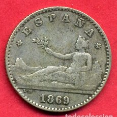Monedas de España: MONEDA PLATA , 50 CENTIMOS 1869 , ESTRELLAS VISIBLES 6 9 , MBC++ , ORIGINAL , B28. Lote 169997160