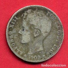Monedas de España: MONEDA PLATA , ALFONSO XIII , 1 PESETA 1902 ESTRELLAS VISIBLES -- 02 , MBC , ORIGINAL , B28. Lote 170106152