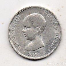 Monedas de España: ALFONSO XIII. 5 PESETAS. AÑO 1891 *18 *91. PLATA.. Lote 171054083