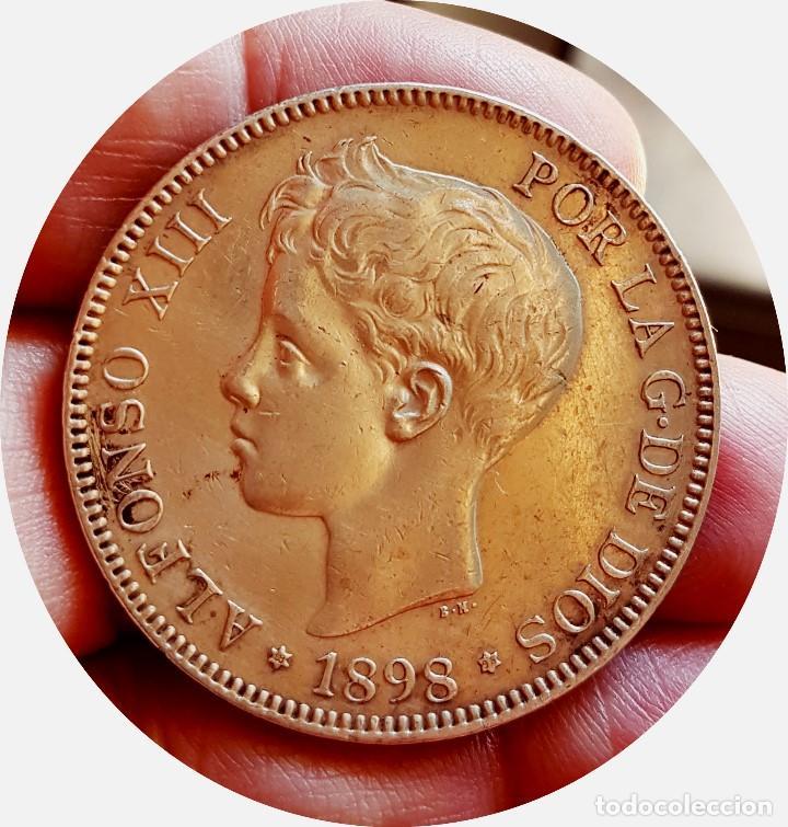 ALFONSO XIII, 5 EXTRAORDINARIAS PESETAS DE 1898, ESTRELLAS *18 *98 - EBC+/CASI SC - PLATA (Numismática - España Modernas y Contemporáneas - De Isabel II (1.834) a Alfonso XIII (1.931))