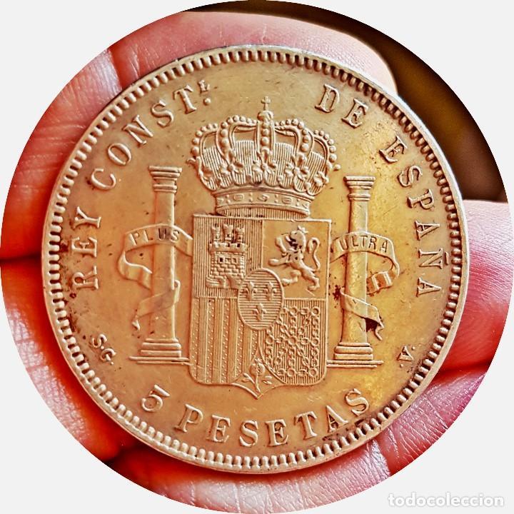 Monedas de España: Alfonso XIII, 5 extraordinarias Pesetas de 1898, estrellas *18 *98 - EBC+/casi SC - Plata - Foto 2 - 171075292