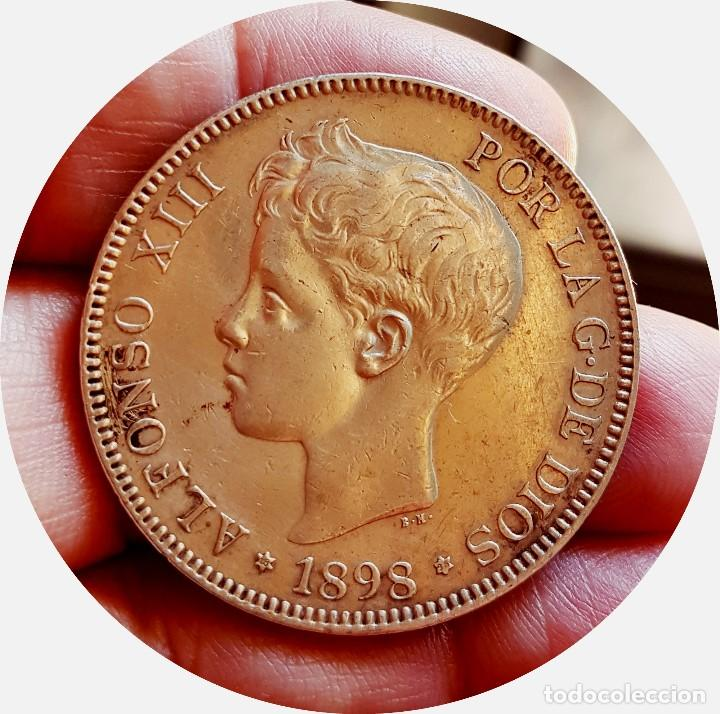 Monedas de España: Alfonso XIII, 5 extraordinarias Pesetas de 1898, estrellas *18 *98 - EBC+/casi SC - Plata - Foto 3 - 171075292