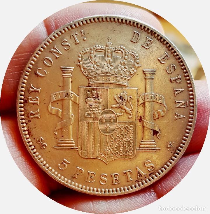 Monedas de España: Alfonso XIII, 5 extraordinarias Pesetas de 1898, estrellas *18 *98 - EBC+/casi SC - Plata - Foto 4 - 171075292
