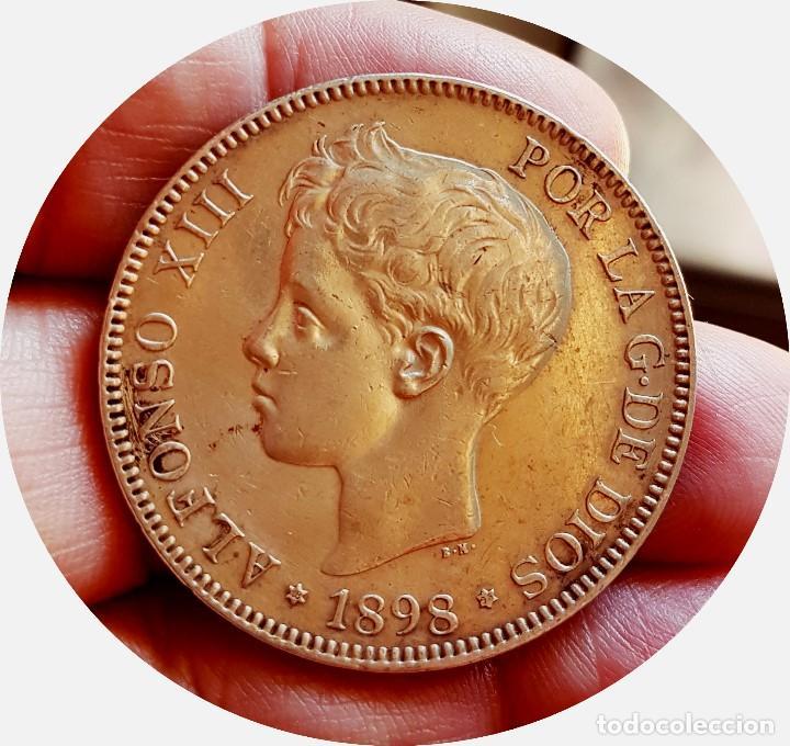 Monedas de España: Alfonso XIII, 5 extraordinarias Pesetas de 1898, estrellas *18 *98 - EBC+/casi SC - Plata - Foto 5 - 171075292