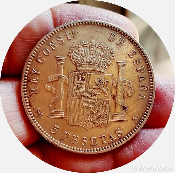Monedas de España: Alfonso XIII, 5 extraordinarias Pesetas de 1898, estrellas *18 *98 - EBC+/casi SC - Plata - Foto 6 - 171075292