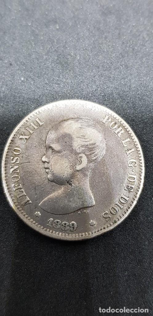 2 PESETAS PLATA ALFONSO XIII 1889 (*18-*89) PELÓN (Numismática - España Modernas y Contemporáneas - De Isabel II (1.834) a Alfonso XIII (1.931))