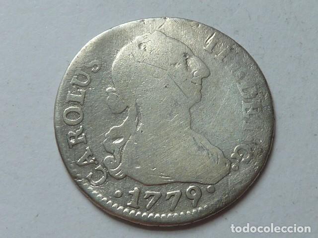 MONEDA DE PLATA DE 2 REALES DE 1779 DE CARLOS III, CECA DE SEVILLA, ENSAYADORES C F (Numismática - España Modernas y Contemporáneas - De Reyes Católicos (1.474) a Fernando VII (1.833))