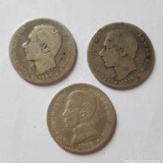 Monedas de España: PESETAS DE PLATA AÑOS 1905-1885 Y 1883. Lote 172479429