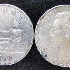 Monedas de España: 2 MONEDAS 5 PESETAS GOBIERNO PROVISIONAL 1870 SN.M. AMADEO I 1871*18-71 .SD.M.. Lote 137510846