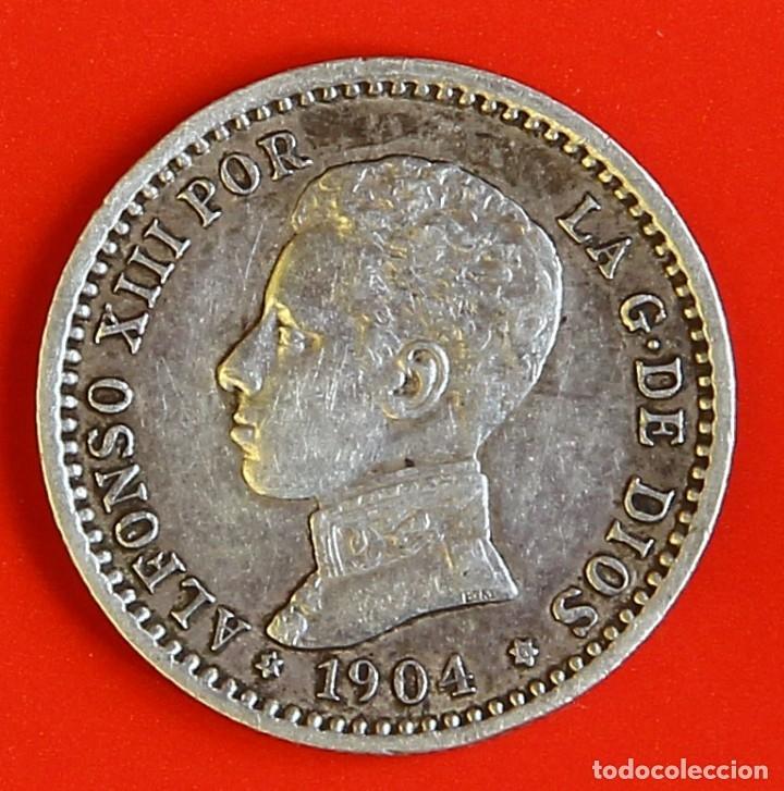MONEDA DE 50 CENTIMOS: 1904 PCV ESTRELLAS (1)(0) MBC- (Numismática - España Modernas y Contemporáneas - De Isabel II (1.834) a Alfonso XIII (1.931))