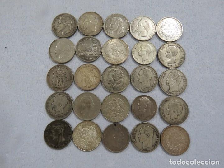 LOTAZO DE 25 MONEDAS DE PLATA TIPO DURO, LA MAYORIA ESPAÑOLAS Y FRANCESAS, DESDE 1867, 520 GRAMOS (Numismática - España Modernas y Contemporáneas - De Isabel II (1.834) a Alfonso XIII (1.931))