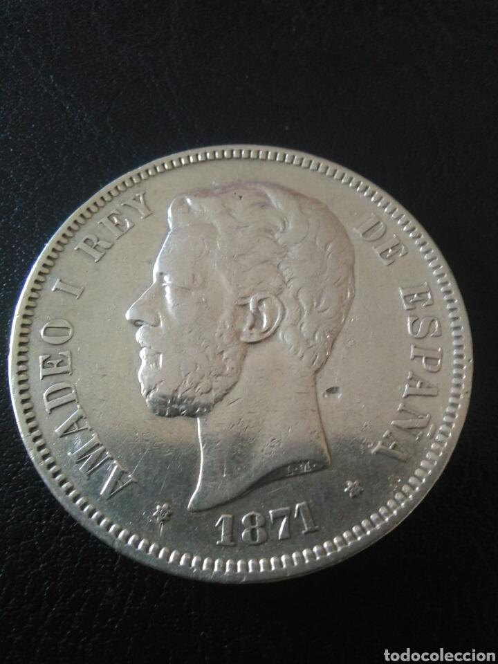 Monedas de España: 5 pesetas,1871,estrella 71,Amadeo I - Foto 2 - 175345452