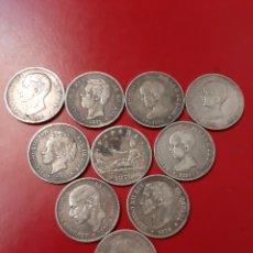 Monedas de España: 10 MONEDAS PLATA 5 PESETAS ESPAÑA 250 GRAMOS EPOCA. Lote 175618830