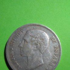 Monedas de España: MONEDA PLATA 5 PESETAS ESPAÑA ALFONSO XII AÑO 1875 ESTRELLAS 18 75 VER FOTOGRAFIAS GUERRA CIVIL. Lote 175702424