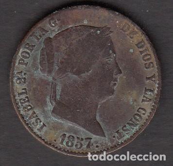 MONEDA ISABEL II 25 CENTIMOS 1857 SEGOVIA (Numismática - España Modernas y Contemporáneas - De Isabel II (1.834) a Alfonso XIII (1.931))
