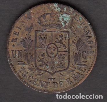 Monedas de España: MONEDA ISABEL II 25 CENTIMOS 1857 SEGOVIA - Foto 2 - 176169644