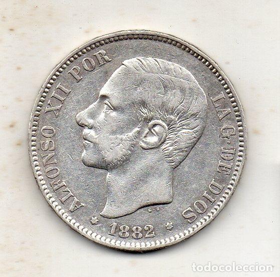 ALFONSO XII. 5 PESETAS. AÑO 1882 *18 *82. PLATA. (Numismática - España Modernas y Contemporáneas - De Isabel II (1.834) a Alfonso XIII (1.931))