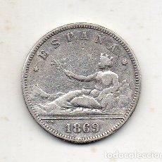 Monedas de España: REPÚBLICA. 2 PESETAS. AÑO 1869. PLATA.. Lote 176192173