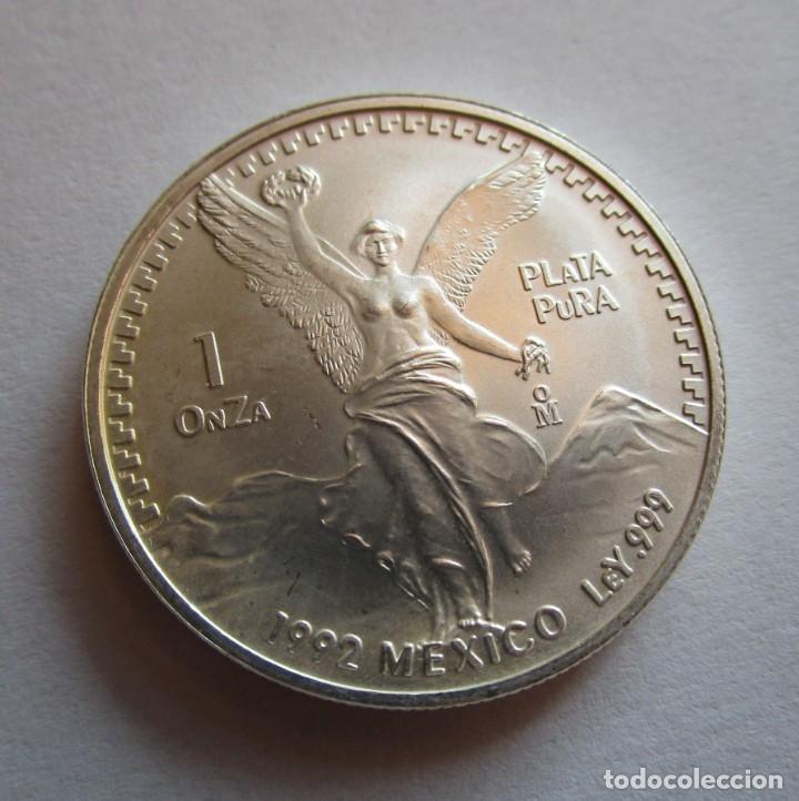 MEXICO . UNA ONZA DE PLATA PURA MUY ANTIGUA . AÑO 1992 . EXTRAORDINARIAMENTE NUEVA (Numismática - España Modernas y Contemporáneas - De Isabel II (1.834) a Alfonso XIII (1.931))