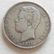 Monedas de España: MONEDA. AMADEO I. 5 PESETAS PLATA. 1871.. Lote 176572463
