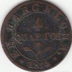 Monedas de España: JOSE NAPOLEON: 4 CUARTOS 1814 BARCELONA. Lote 57328667