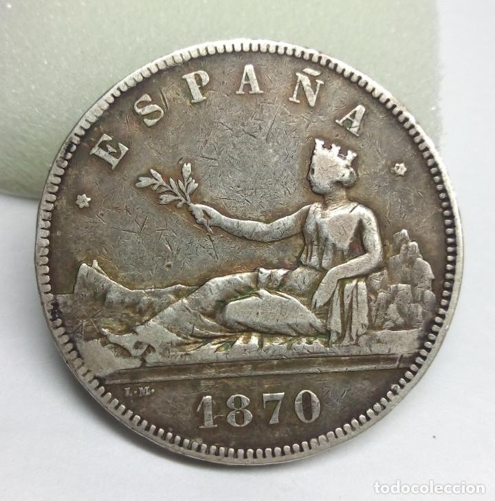 MONEDA DE PLATA - 5 PESETAS DE 1870 (Numismática - España Modernas y Contemporáneas - De Isabel II (1.834) a Alfonso XIII (1.931))