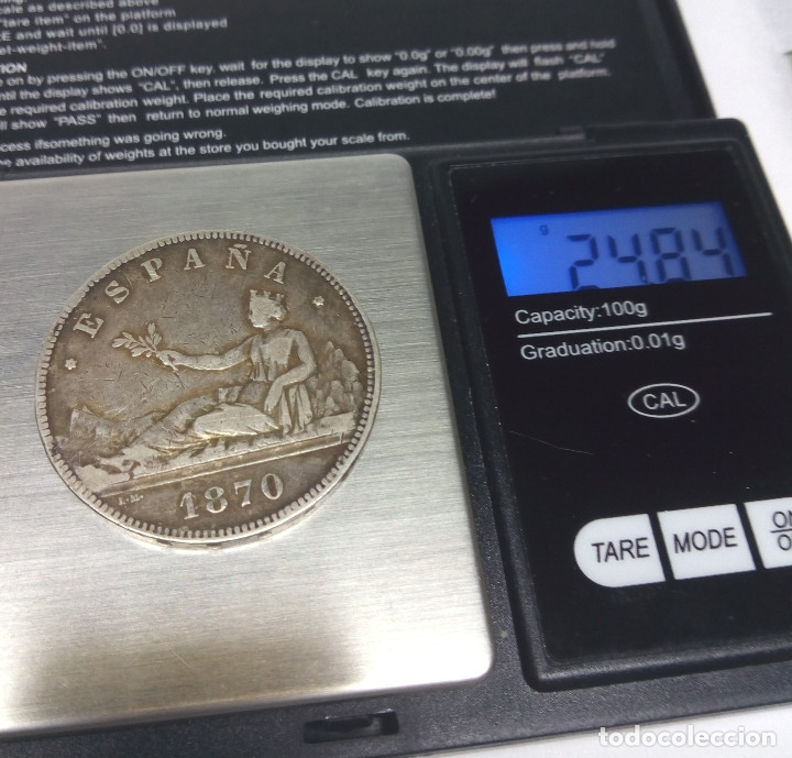 Monedas de España: MONEDA DE PLATA - 5 PESETAS DE 1870 - Foto 3 - 176672355