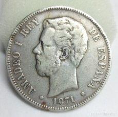 Monedas de España: MONEDA DE PLATA - 5 PESETAS DE 1871, ESTRELLA 74 - AMADEO I REY DE ESPAÑA. Lote 176673940