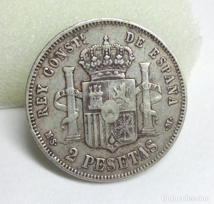 Monedas de España: MONEDA DE PLATA - 2 PESETAS DE 1882, ALFONSO XII - Foto 2 - 176674127