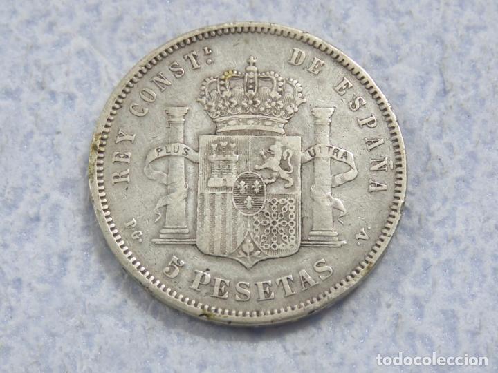 Monedas de España: BONITO DURO DE PLATA DE ALFONSO XIII - 5 PESETAS- DE 1893 PGV - LAS DOS ESTRELLAS MUY VISIBLES, EBC - Foto 3 - 176801923
