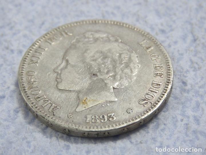 Monedas de España: BONITO DURO DE PLATA DE ALFONSO XIII - 5 PESETAS- DE 1893 PGV - LAS DOS ESTRELLAS MUY VISIBLES, EBC - Foto 4 - 176801923