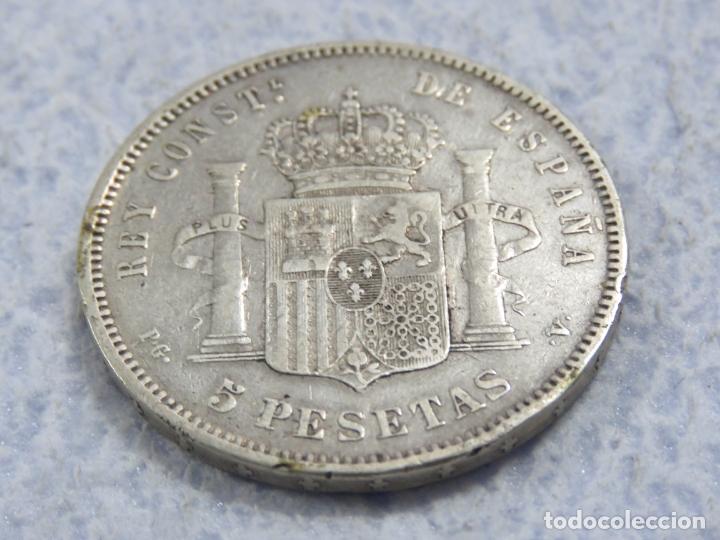 Monedas de España: BONITO DURO DE PLATA DE ALFONSO XIII - 5 PESETAS- DE 1893 PGV - LAS DOS ESTRELLAS MUY VISIBLES, EBC - Foto 6 - 176801923