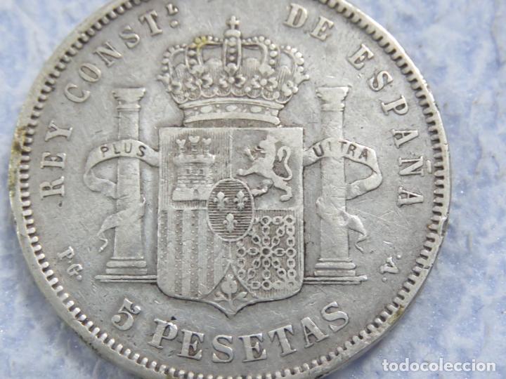 Monedas de España: BONITO DURO DE PLATA DE ALFONSO XIII - 5 PESETAS- DE 1893 PGV - LAS DOS ESTRELLAS MUY VISIBLES, EBC - Foto 7 - 176801923