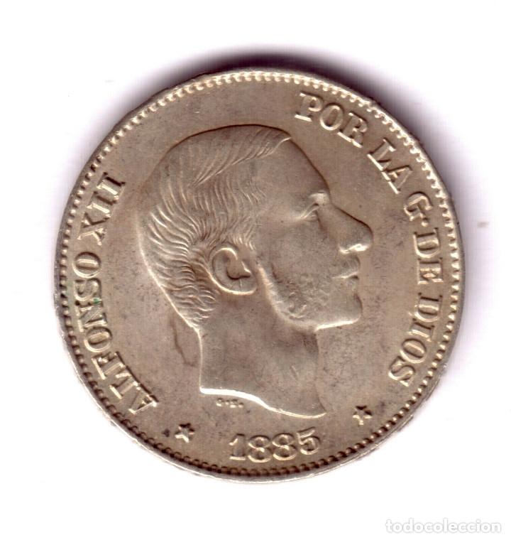 ESPAÑA 50 CENTAVOS DE PESO PLATA 1885 - REY ALFONSO XII MANILA CALIDAD S/C (Numismática - España Modernas y Contemporáneas - De Isabel II (1.834) a Alfonso XIII (1.931))