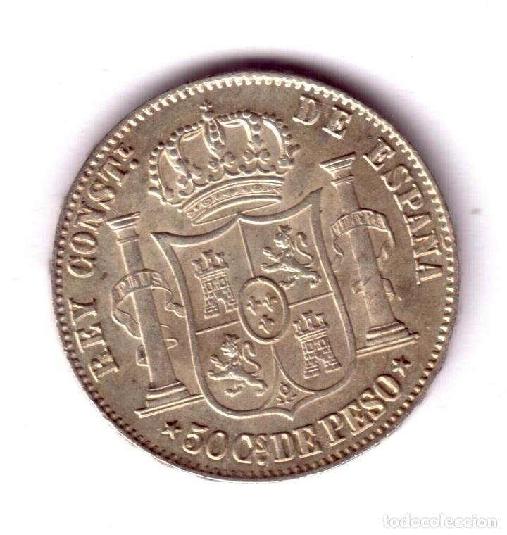 Monedas de España: ESPAÑA 50 Centavos de Peso plata 1885 - Rey Alfonso XII Manila Calidad S/C - Foto 2 - 176855533
