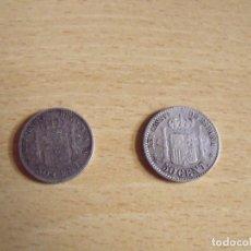 Monedas de España: 2 MONEDAS DE ALFONSO XIII. 50 CÉNTIMOS. PLATA. 1894. 1910. BUEN ESTADO. 1,7 CM DIÁMETRO. . Lote 176901570