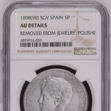 Monedas de España: ESPAÑA, ALFONSO XIII 1898 ESTRELLAS 18-98 PLATA- CERTIFICADA NGC. Lote 176908887