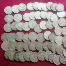Monedas de España: LOTE DE 65 MONEDAS DE PESETA DE PLATA. ACEPTABLE CALIDAD. Lote 176909312