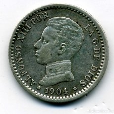 Monedas de España: ALFONSO XIII - 50 CENTIMOS 1904 (*0-4) MADRID SM V - EBC. Lote 176966443
