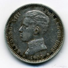 Monedas de España: ALFONSO XIII - 1 PESETA 1903 (*19-03) MADRID SM V - EBC. Lote 176968525