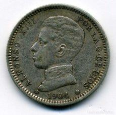 Monedas de España: ALFONSO XIII - 1 PESETA 1904 (*19-04) MADRID SM V - EBC. Lote 176969405