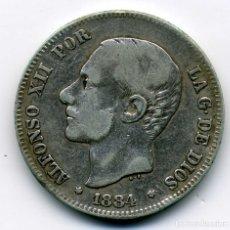 Monedas de España: ALFONSO XIII - 2 PESETAS 1884 (*18-84) MADRID MS M - BC. Lote 176989595