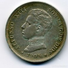 Monedas de España: ALFONSO XIII - 2 PESETAS 1905 (*19-05) MADRID SM V - EBC. Lote 176989784