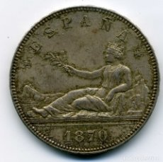Monedas de España: GOBIERNO PROVISIONAL 5 PESETAS 1870 (*18-70) MADRID SN M SC. Lote 176991858