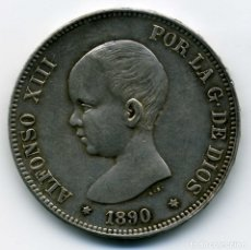Monedas de España: ALFONSO XIII - 5 PESETAS 1890 (*18-90) MADRID MP M - EBC. Lote 176992880