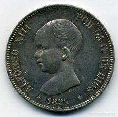 Monedas de España: ALFONSO XIII - 5 PESETAS 1891 (*18-91) MADRID MP M - EBC. Lote 176993020