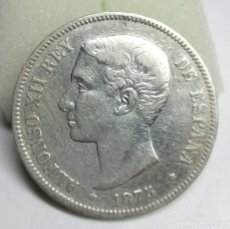 Monedas de España: MONEDA DE PLATA - 5 PESETAS DE 1875, ALFONSO XII. Lote 177051157