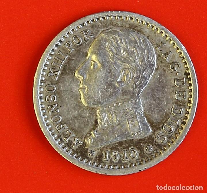 MONEDA DE 50 CENTIMOS: 1910 PCV ESTRELLAS (1)(0) MBC (Numismática - España Modernas y Contemporáneas - De Isabel II (1.834) a Alfonso XIII (1.931))