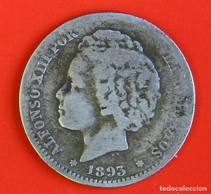 MONEDA DE 1 PESETA: 1893 PGL ESTRELLAS (--)(--) BC+/- (Numismática - España Modernas y Contemporáneas - De Isabel II (1.834) a Alfonso XIII (1.931))